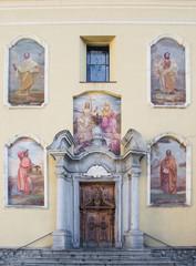 church facade in Ponte di Legno, Italy