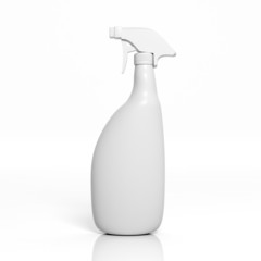 3D blank spray bottle mockup isolated on white