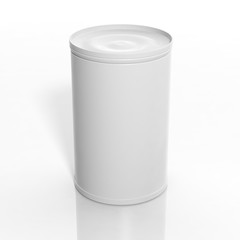 3D blank can mockup isolated on white