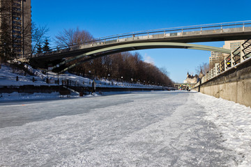 The Rideau Canal in Ottawa, Canada a UNESCO World Heritage Site.