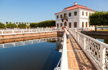 Marly Palace in Lower Park Peterhof in summer sunny day