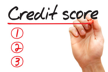 Hand writing Credit Score List with red marker