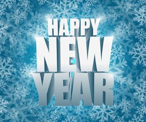 happy new year snowflake winter card illustration