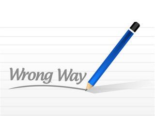 wrong way message sign illustration