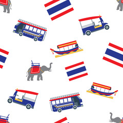 Seamless Pattern: Thailand Transportation with Flag