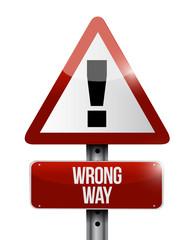 warning wrong way sign illustration