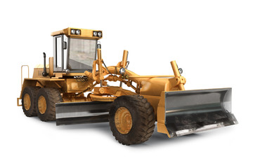 Generic road grader on a white backgroud.