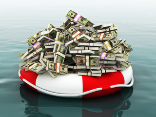 Safe money ,Large pile of money floating on a life preserver.