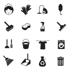 B&W icons set : Cleaning Objects