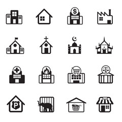 B&W icons set : Building, Destination, Place for Map