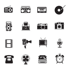 B&W icons set : Retro electronic, Analogue, Entertainment Object