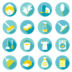 Flat icons set : Cleaning Objects