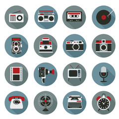 Flat icons set : Retro electronic, Analog, Entertainment Object