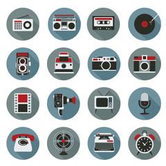 Flat icons set : Retro electronic, Analog, Entertainment Object