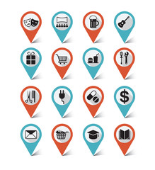 Map markers, GPS icons set : Destination, Place