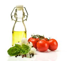 Ingredients for Caprese : mozzarella , tomato and oil