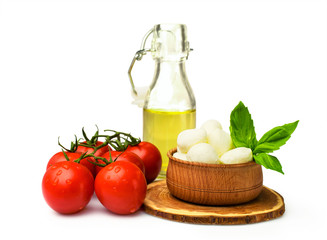 Ingredients for Caprese : mozzarella , tomato and oil
