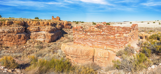 Panoramic view of box canyon pueblos in Wupatki National Monumen