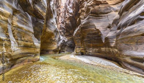 Leinwandbild Motiv Grand Canyon of Jordan,Wadi al mujib Natural Reserve