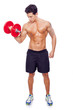 Fitness man lifting dumbbells over a white background