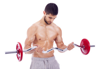 Fitness man lifting weights on a white background