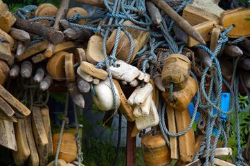 old fishing nets closeup