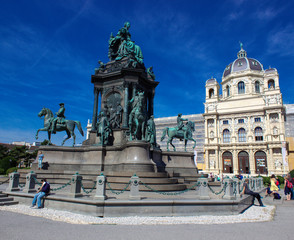 Vienna, AT - Aug 18, 2014: Maria-Theresien-Platz
