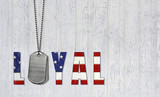 military dog tags with loyal flag poster