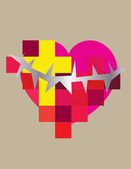 Heart love with cross and spine, contemporary art vector design