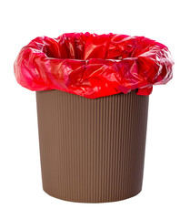 Trash bag brown with red on white background