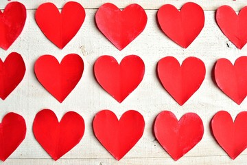 Red hearts background.paper cut out