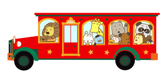 動物たちのバス旅行
