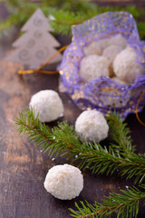 Homemade chocolate candies with coatings such as coconut