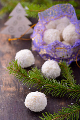 Homemade chocolate candies with coconut