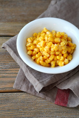 Sweet corn in a white bowl