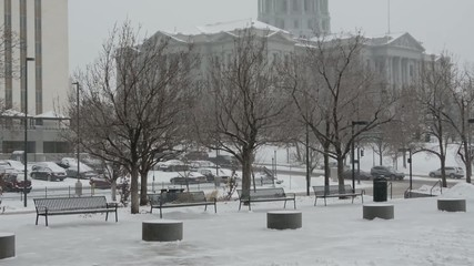 Colorado State Capitol during a blizzard