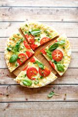 Fresh pizza with mozzarella