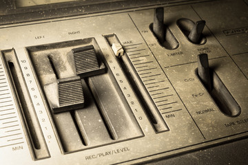 Sepia color filtered of radio sound equipment.