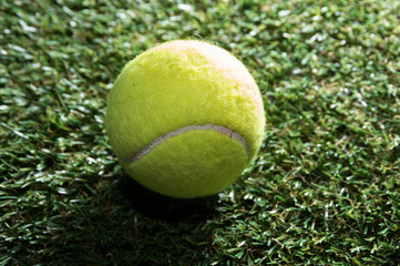 Tennis ball on grass court.