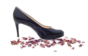 Black High Heel Shoe on a withe background with flower petals
