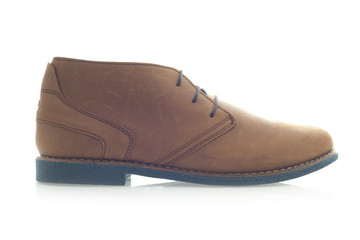 Mens Brown Suede Shoe on a White Background