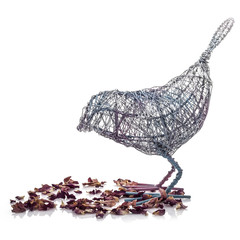 Wire Bird with Flower Petals on a white background