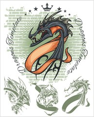 Dragons and ribbons - vector set. Stock illustration.