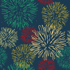 Seamless pattern with colorful fireworks