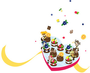 ハートの箱を開けたら、チョコレートの妖精達が飛び出した。