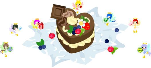 大きなチョコレートケーキと、愛を祝福する小さな天使達。