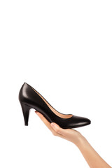Woman female hand holding shoe isolated with clipping path