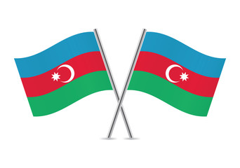 Azerbaijan flags. Vector illustration.