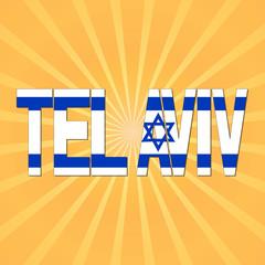 Tel Aviv flag text with sunburst illustration