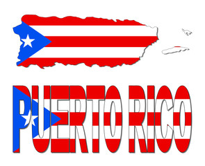 Puerto Rico map flag and text illustration